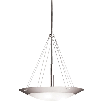 Kichler 3244NI Structures Collection Inverted Pendant 3 Light in Brushed Nickel
