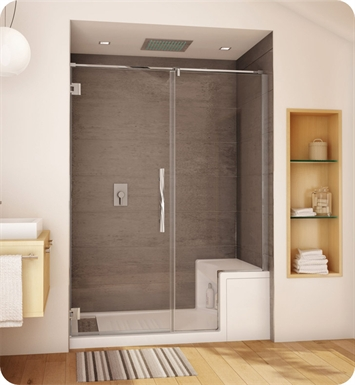 Fleurco PLAKP57-11-40R-T-D Platinum Kara Door and Panel with Wall Mount Hinges With Hardware Finish: Bright Chrome And Glass Type: Clear Glass And Door Direction: Right And Shower Door Handles: Flat And Shower Door Hinges: Square