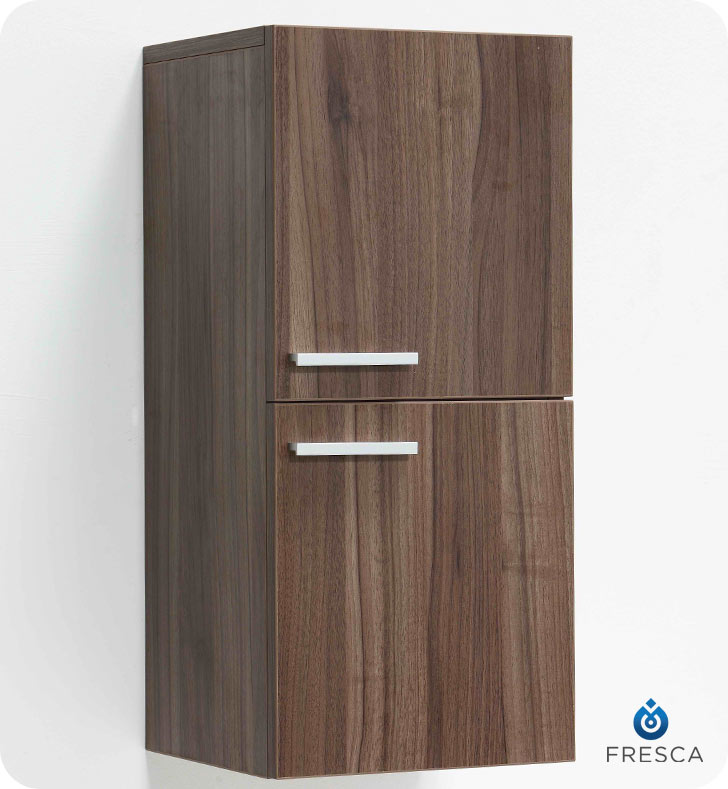 Fresca FST8091WL Light Walnut Bathroom Linen Side Cabinet