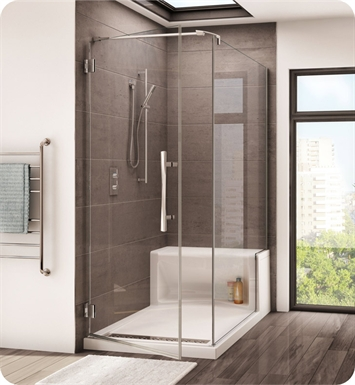 Fleurco PLAQ3660-25-40L-R-B Platinum Cube Shower Door with Return Panel and Wall Mount Hinges With Hardware Finish: Brushed Nickel And Glass Type: Clear Glass And Door Direction: Left And Shower Door Handles: Curved And Shower Door Hinges: Round