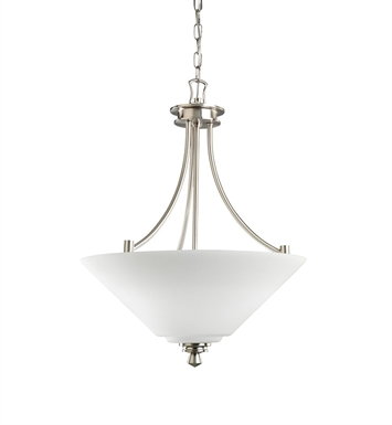Kichler Wharton Collection Inverted Pendant 3 Light in Brushed Nickel