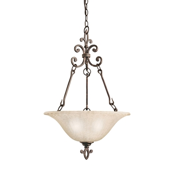 Kichler 3390CZ Wilton Collection Inverted Pendant 3 Light in Carre Bronze