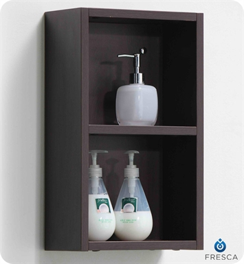 Fresca FST8092WG Wenge Bathroom Linen Side Cabinet with 2 Open Storage Areas