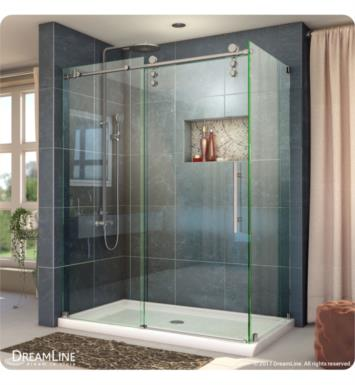 DreamLine SHEN-6234480-08 Enigma-Z Fully Frameless Sliding Shower Enclosure With Finish: Polished Stainless Steel And Dimensions: W 48 3/8""