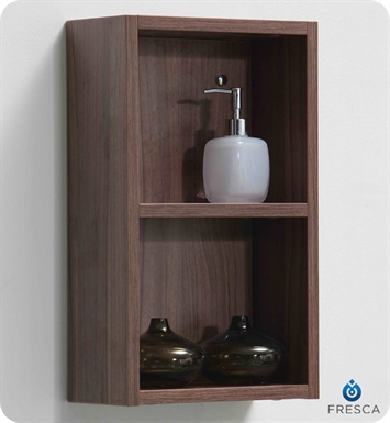 Fresca FST8092WL Light Walnut Bathroom Linen Side Cabinet with 2 Open Storage Areas