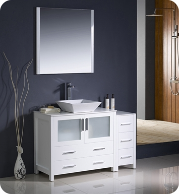 "Fresca FVN62-3612WH-VSL Torino 48"" Modern Bathroom Vanity with Side Cabinet and Vessel Sink in White"