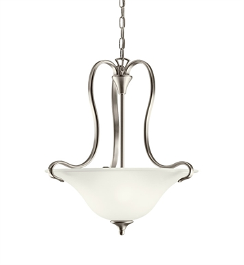 Kichler 10742NI Wedgeport Collection Inverted Pendant 2 Light Fluorescent in Brushed Nickel