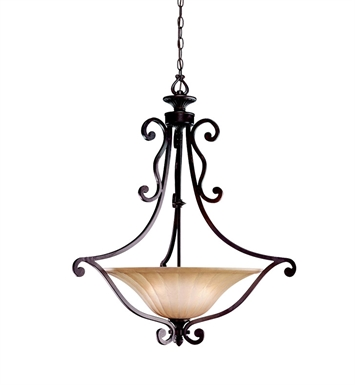 Kichler 3558CZ Cottage Grove Collection Inverted Pendant 3 Light in Carre Bronze
