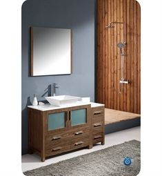 "Fresca Torino 48"" Walnut Brown Modern Bathroom Vanity with Side Cabinet and Vessel Sink"