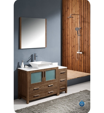 "Fresca FVN62-3612WB-VSL Torino 48"" Modern Bathroom Vanity with Side Cabinet and Vessel Sink in Walnut Brown"