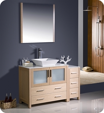 "Fresca FVN62-3612LO-VSL Torino 48"" Modern Bathroom Vanity with Side Cabinet and Vessel Sink in Light Oak"