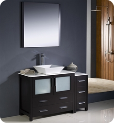 "Fresca Torino 48"" Espresso Modern Bathroom Vanity with Side Cabinet and Vessel Sink"