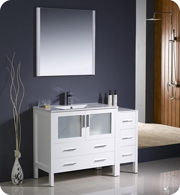 "Fresca FVN62-3612WH-UNS Torino 48"" Modern Bathroom Vanity with Side Cabinet and Integrated Sink in White"
