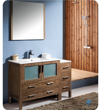 "Fresca FVN62-3612WB-UNS Torino 48"" Modern Bathroom Vanity with Side Cabinet and Integrated Sink in Walnut Brown"