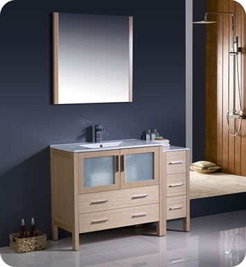"Fresca FVN62-3612LO-UNS Torino 48"" Modern Bathroom Vanity with Side Cabinet and Integrated Sink in Light Oak"