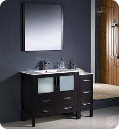 "Fresca Torino 48"" Espresso Bathroom Vanity with Side Cabinet and Integrated Sink"