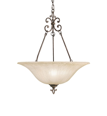 Kichler 3391CZ Wilton Collection Inverted Pendant 3 Light in Carre Bronze