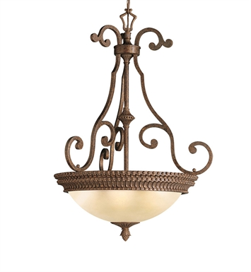 Kichler 3217TZG Larissa Collection Inverted Pendant 3 Light in Tannery Bronze with Gold Accent
