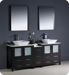 "Fresca Torino 72"" Espresso Modern Double Sink Bathroom Vanity with Side Cabinet and Vessel Sinks"