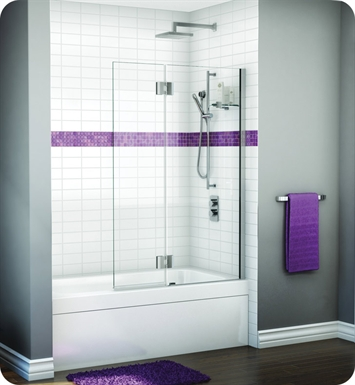 Fleurco VWGSH24-25-40R-M Evolution Monaco Square Top Tub Shield with Fixed Panel and Glass Shelf Support With Hardware Finish: Brushed Nickel And Glass Type: Clear Glass And Door Direction: Right And Shower Door Hinges: Rectangular