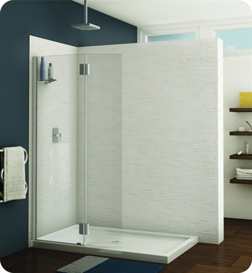 Fleurco VWXSS24-25-40R-T Evolution Monaco Square Top Shower Shield with Fixed Panel and Support Bar System With Hardware Finish: Brushed Nickel And Glass Type: Clear Glass And Door Direction: Right And Shower Door Hinges: Square And Microtek Glass Protection: 2 Panels