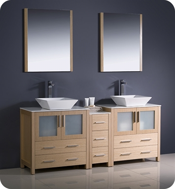 "Fresca FVN62-301230LO-VSL Torino 72"" Double Sink Modern Bathroom Vanity with Side Cabinet and Vessel Sinks in Light Oak"