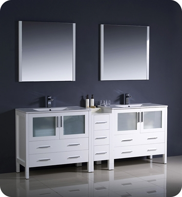 "Fresca FVN62-361236WH-UNS Torino 84"" Double Sink Modern Bathroom Vanity with Side Cabinet and Integrated Sinks in White"