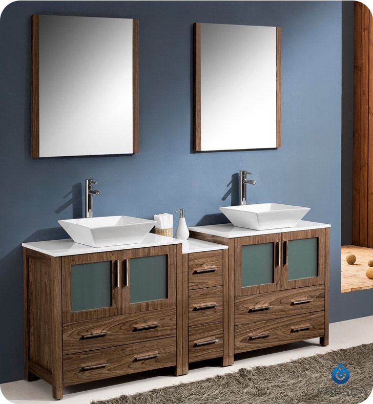 modern double sink bathroom vanity with side cabinet and vessel sinks