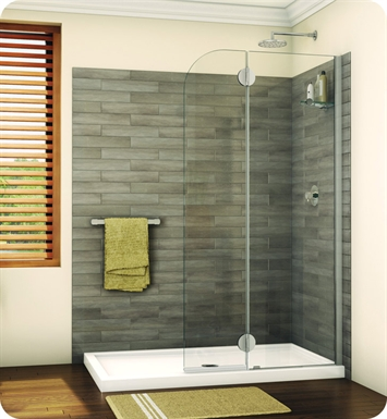 Fleurco VGSS24-29-80R-M Evolution Monaco Round Top Shower Shield with Fixed Panel and Glass Shelf Support With Hardware Finish: Oil-Rubbed Bronze And Glass Type: Mist Glass And Door Direction: Right And Shower Door Hinges: Rectangular