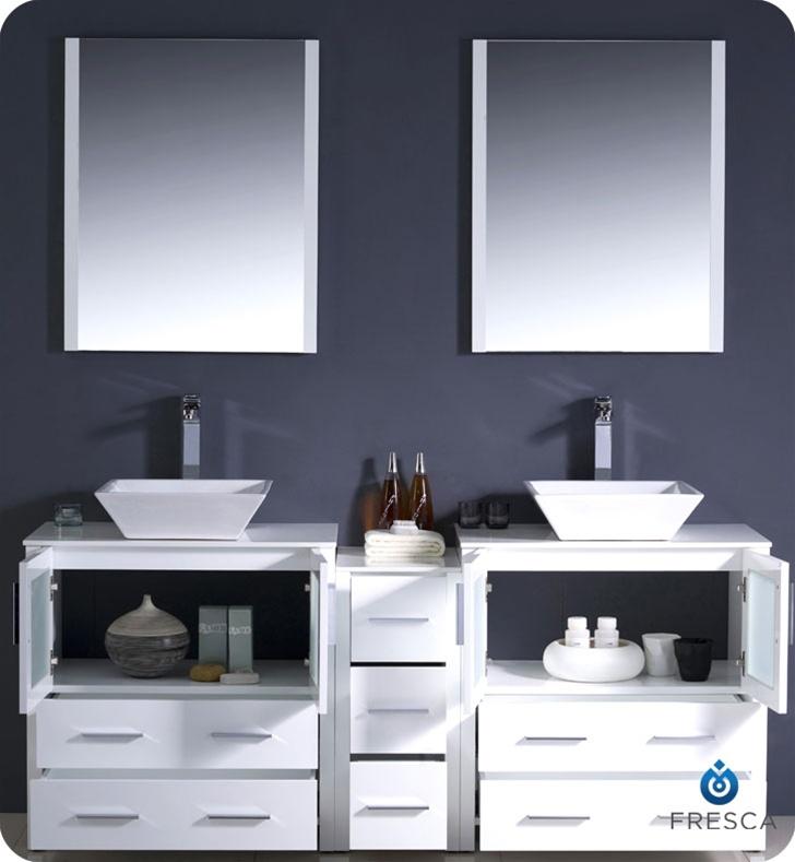 Fresca fvn62 301230wh vsl torino 72 double sink modern Modern bathroom vanities with vessel sinks