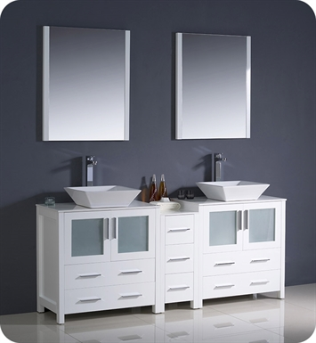 "Fresca FVN62-301230WH-VSL Torino 72"" Double Sink Modern Bathroom Vanity with Side Cabinet and Vessel Sinks in White"