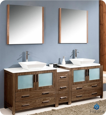 "Fresca FVN62-361236WB-VSL Torino 84"" Double Sink Modern Bathroom Vanity with Side Cabinet and Vessel Sinks in Walnut Brown"