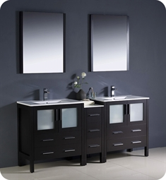 "Fresca Torino 72"" Espresso Modern Double Sink Bathroom Vanity with Side Cabinet and Integrated Sinks"