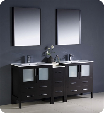 "Fresca FVN62-301230ES-UNS Torino 72"" Double Sink Modern Bathroom Vanity with Side Cabinet and Integrated Sinks in Espresso"