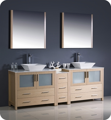 "Fresca FVN62-361236LO-VSL Torino 84"" Double Sink Modern Bathroom Vanity with Side Cabinet and Vessel Sinks in Light Oak"