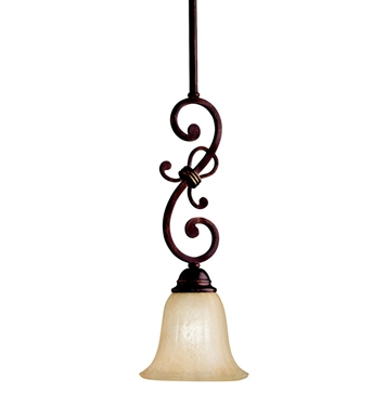 Kichler 3489CZ Wilton Collection Mini Pendant 1 Light in Carre Bronze