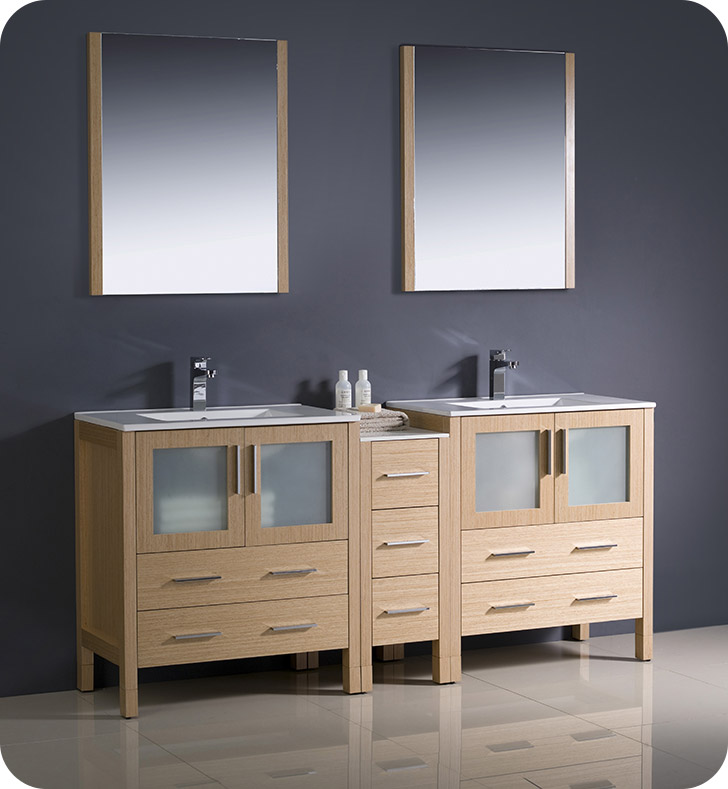 Fresca fvn62 301230lo uns torino 72 double sink modern for Bathroom 72 double vanity