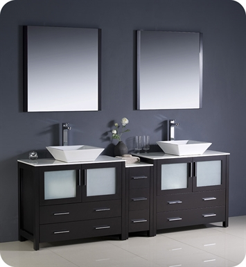 "Fresca Torino 84"" Espresso Modern Double Sink Bathroom Vanity with Side Cabinet and Vessel Sinks"