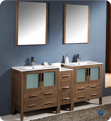 "Fresca FVN62-301230WB-UNS Torino 72"" Double Sink Modern Bathroom Vanity with Side Cabinet and Integrated Sinks in Walnut Brown"