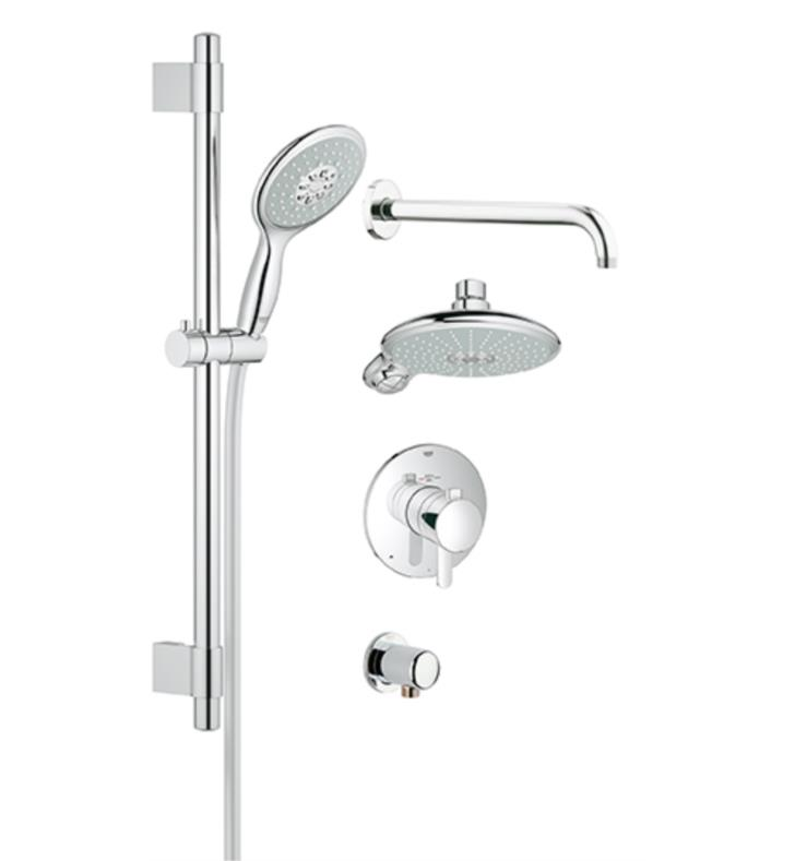grohe 35052000 europlus 23 5 8 grohflex thermostatic valve shower set in chrome. Black Bedroom Furniture Sets. Home Design Ideas