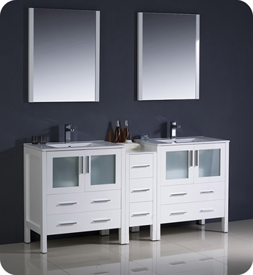 "Fresca Torino 72"" White Modern Double Sink Bathroom Vanity with Side Cabinet and Integrated Sinks"
