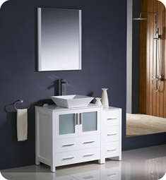 "Fresca Torino 42"" White Modern Bathroom Vanity with Side Cabinet and Vessel Sink"
