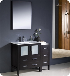"Fresca FVN62-3012ES-UNS Torino 42"" Modern Bathroom Vanity with Side Cabinet and Integrated Sink in Espresso"