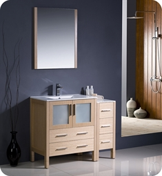 "Fresca Torino 42"" Light Oak Modern Bathroom Vanity with Side Cabinet and Integrated Sink"