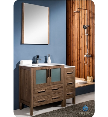 "Fresca FVN62-3012WB-UNS Torino 42"" Modern Bathroom Vanity with Side Cabinet and Integrated Sink in Walnut Brown"