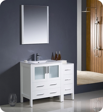 "Fresca FVN62-3012WH-UNS Torino 42"" Modern Bathroom Vanity with Side Cabinet and Integrated Sink in White"