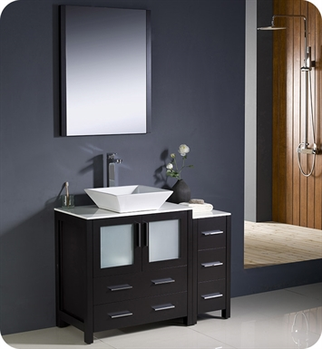 "Fresca Torino 42"" Espresso Modern Bathroom Vanity with Side Cabinet and Vessel Sink"