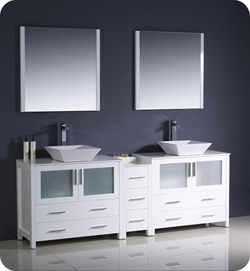 "Fresca FVN62-361236WH-VSL Torino 84"" Double Sink Modern Bathroom Vanity with Side Cabinet and Vessel Sinks in White"