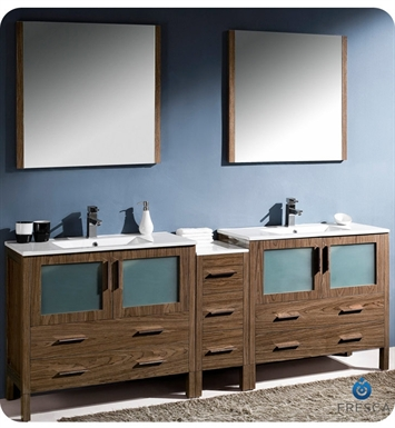 "Fresca FVN62-361236WB-UNS Torino 84"" Double Sink Modern Bathroom Vanity with Side Cabinet and Integrated Sinks in Walnut Brown"
