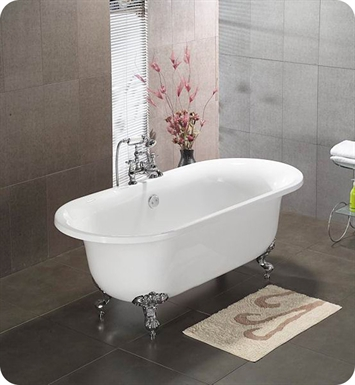 Cambridge Plumbing ADE-NH-BN 70 inch Acrylic Double Ended Clawfoot Bathtub With Tub Feet Finish: Brushed Nickel And Faucet Holes: No Holes